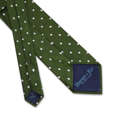 Green Twill with White Spots Woven Silk Tie