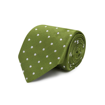 Light Green Twill with White Spots Woven Silk Tie