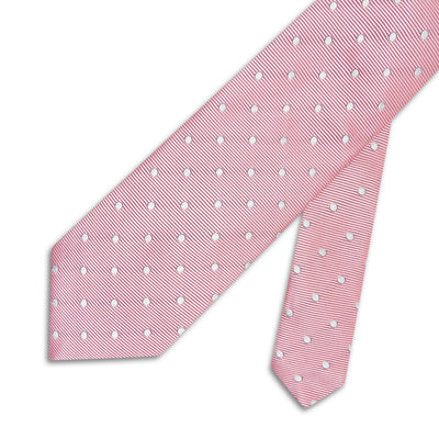 Soft Pink Twill with White Spots Woven Silk Tie