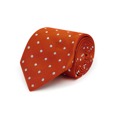 Orange Twill with White Spots Woven Silk Tie
