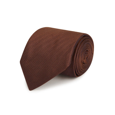 Brown Herringbone Woven Silk Tie