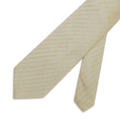 Yellow Herringbone Woven Silk Tie