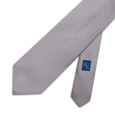 Plain Grey Printed Silk Tie