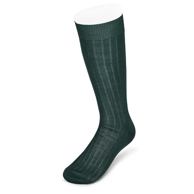 Short Plain Dark Green Cotton Socks