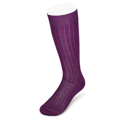 Long Plain Purple Cotton Socks