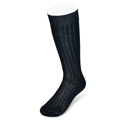 Long Plain Navy Cotton Socks