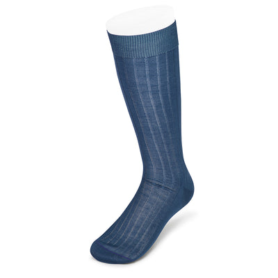 Long Plain Blue Cotton Socks