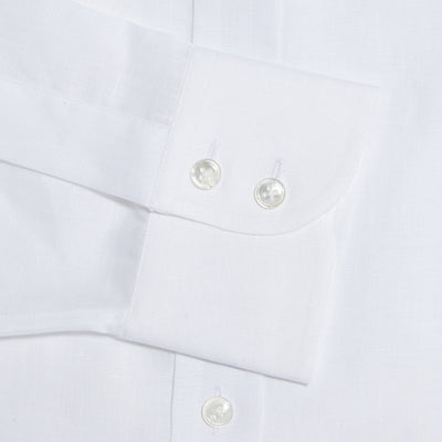 Classic Fit, Collarless, 2 Button Cuff Shirt in a Plain White Twill Cotton