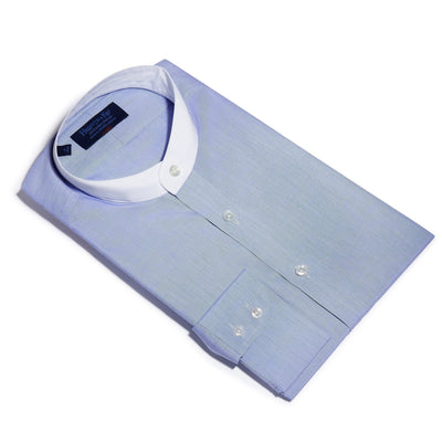Classic Fit, Collarless, 2 Button Cuff Shirt in a Plain Blue End-On-End Cotton