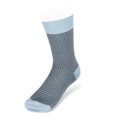 Short Pale Blue & Navy Houndstooth Cotton Socks