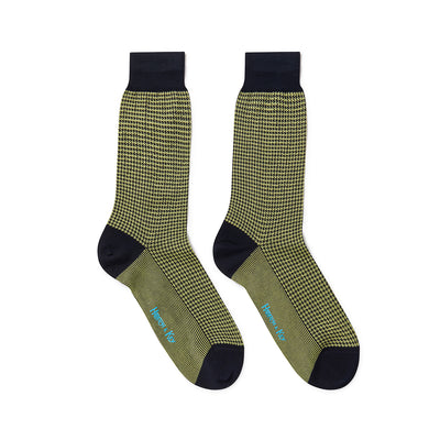 Short Lime Green & Navy Houndstooth Cotton Socks