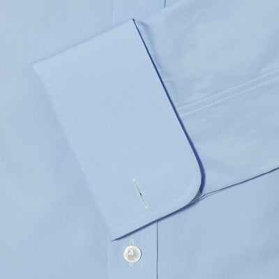 Contemporary Fit, Cut-away Collar, Double Cuff Shirt in a Plain Sky Blue Poplin Cotton