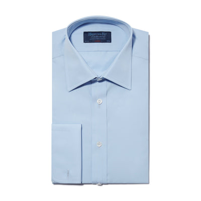 Classic Fit, Classic Collar, Double Cuff Shirt in a Plain Sky Blue Poplin Cotton