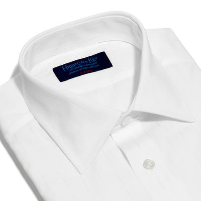 Classic Fit, Classic Collar, Double Cuff Shirt in a Satin Stripe White-On-White Cotton