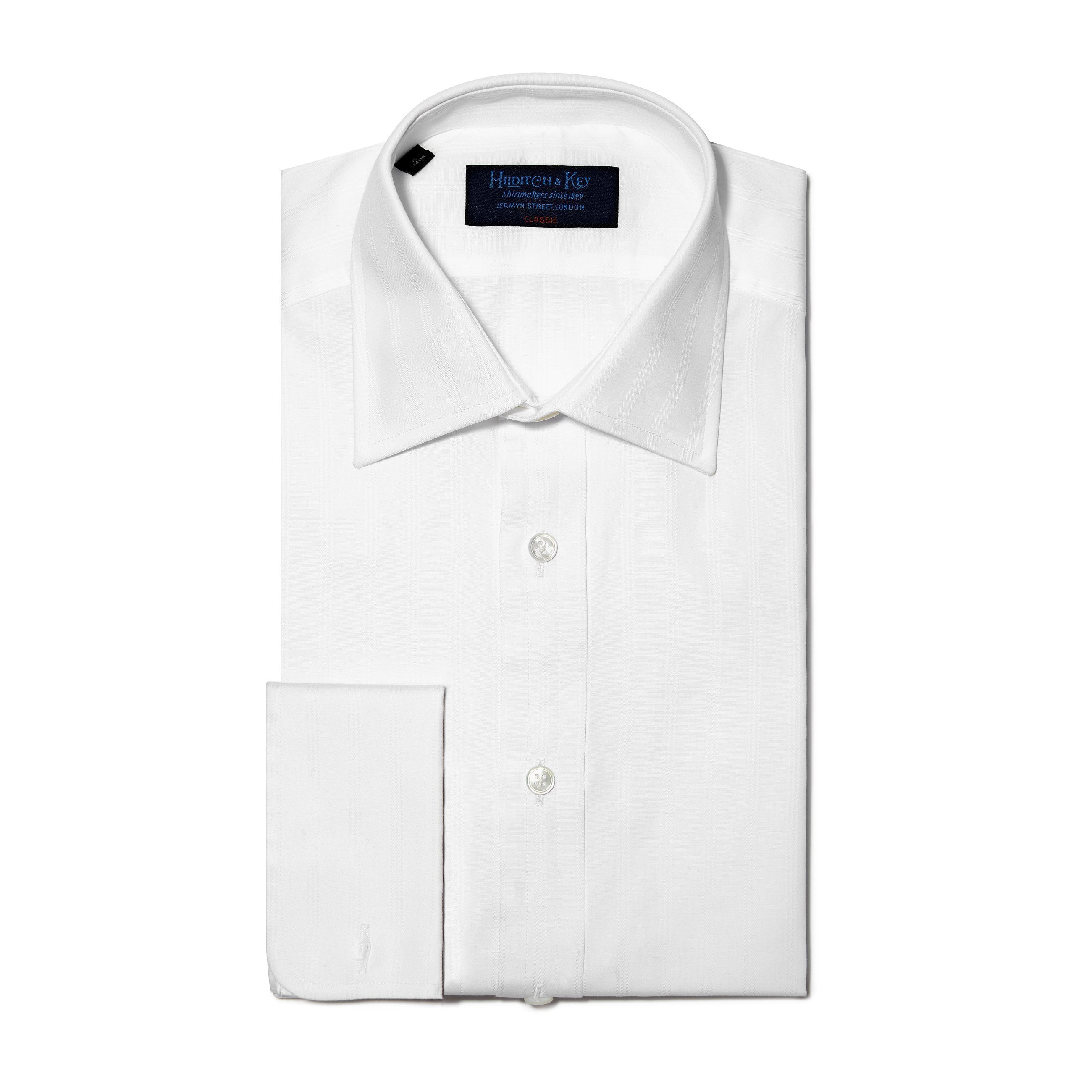 Classic Fit, Classic Collar, Double Cuff Shirt in a Multi Satin Stripe White-On-White Cotton