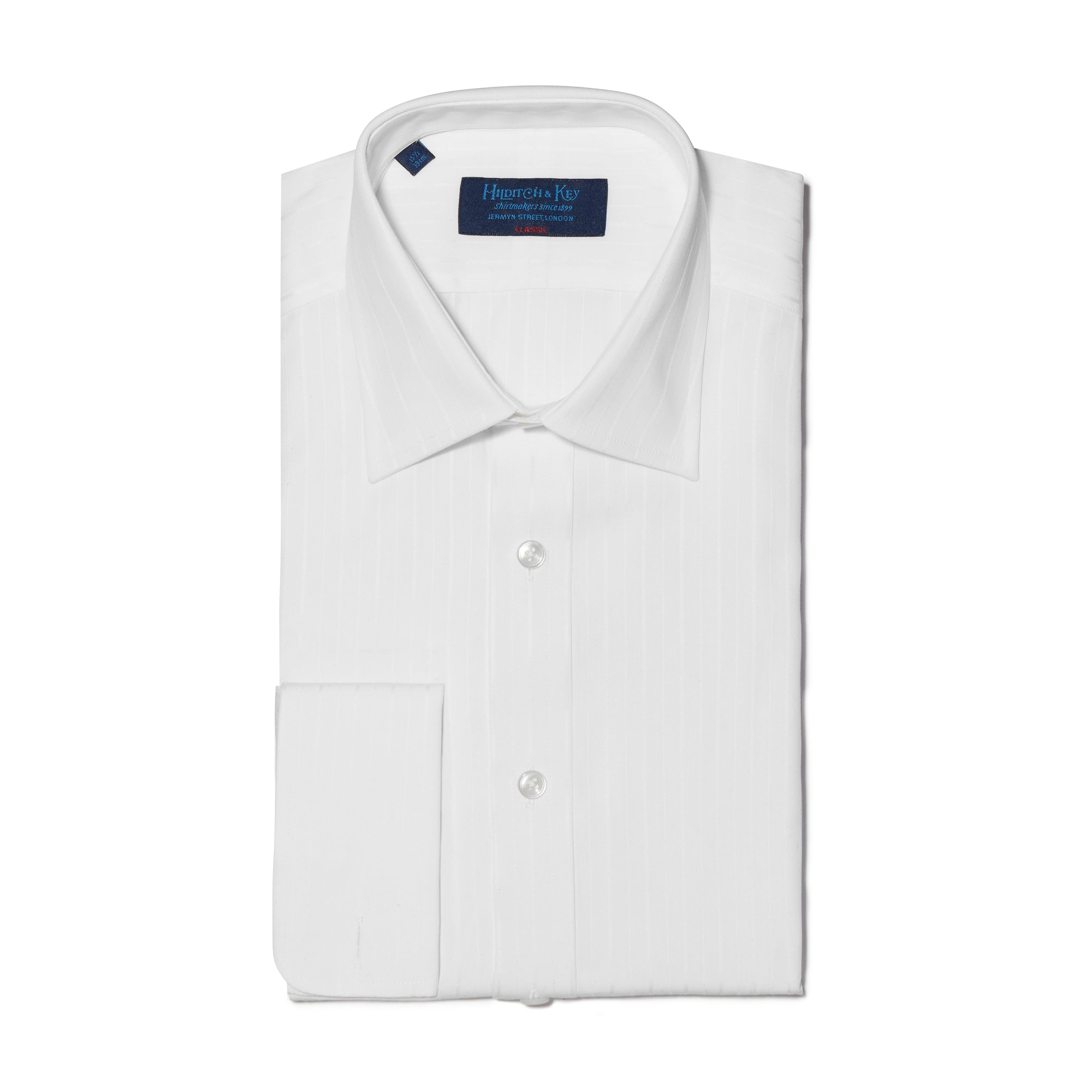 Classic Fit, Classic Collar, Double Cuff Shirt in a White Stripe White-On-White Cotton