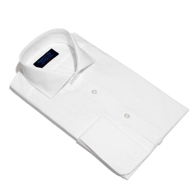 Classic Fit, Cut-away Collar, Double Cuff Shirt in a Multi Satin Stripe White-On-White Cotton