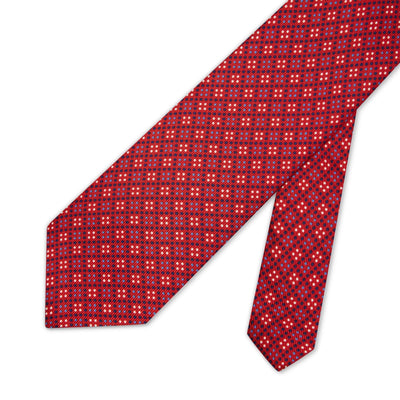 Red with Navy, Blue & White Spots Printed Silk Tie