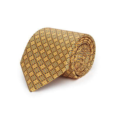 Gold with Navy, Blue & White Spots Printed Silk Tie
