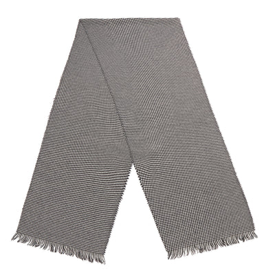 Black & White Houndstooth Cashmere Scarf