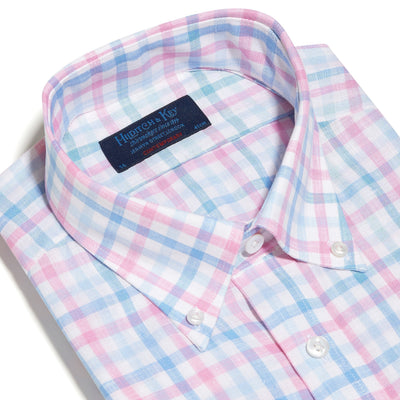 Contemporary Fit, Buttondown Collar, 2 Button Cuff Shirt in a Pink, Blue & White Overcheck Twill Linen
