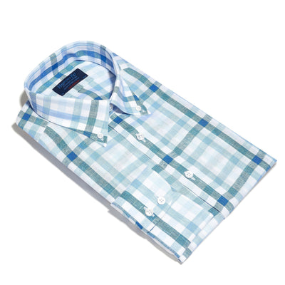 Contemporary Fit, Buttondown Collar, 2 Button Cuff Shirt in a Blue & White Check Twill Linen