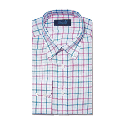 Contemporary Fit, Buttondown Collar, 2 Button Cuff Shirt in a Red, Blue & White Overcheck Twill Linen