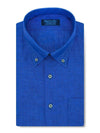 Contemporary Fit, Button Down Collar, Short Sleeve Shirt in a Royal Blue Textured Twill Linen