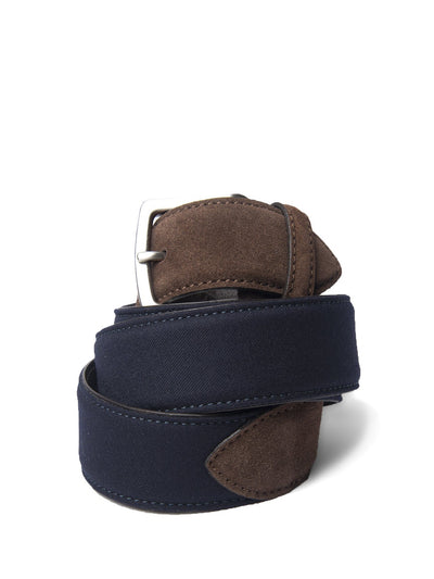 Navy Flannel & Brown Suede Belt