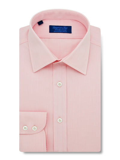 Contemporary Fit, Classic Collar, 2 Button Cuff Shirt in a Plain Pink End-On-End Cotton