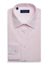 Contemporary Fit, Classic Collar, 2 Button Cuff Shirt in a Plain Pink Poplin Cotton