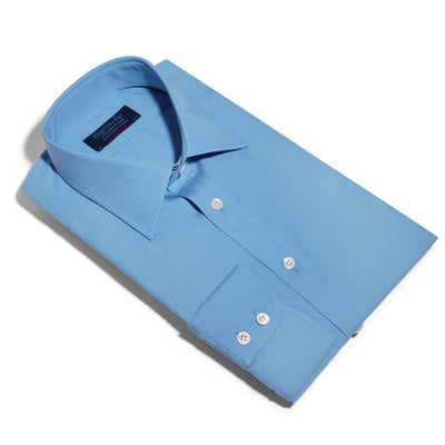 Contemporary Fit, Classic Collar, 2 Button Cuff Shirt in a Plain Blue Poplin Cotton