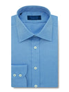 Contemporary Fit, Classic Collar, 2 Button Cuff Shirt in a Deep Blue Pinpoint Sea Island Quality Twill Cotton