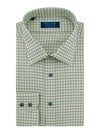 Contemporary Fit, Classic Collar, 2 Button Cuff Shirt in a Beige, Red & Green Large Check Twill Cotton
