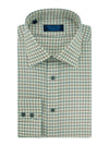 Contemporary Fit, Classic Collar, 2 Button Cuff Shirt in a Beige, Navy & Red Large Check Twill Cotton