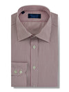 Contemporary Fit, Classic Collar, 2 Button Cuff Shirt in a Wine & White Stripe Poplin Cotton