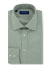 Contemporary Fit, Classic Collar, 2 Button Cuff Shirt in a Grey & White Check Twill Cotton
