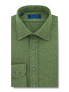 Contemporary Fit, Classic Collar, 2 Button Cuff Shirt in a Plain Green Herringbone Cotton
