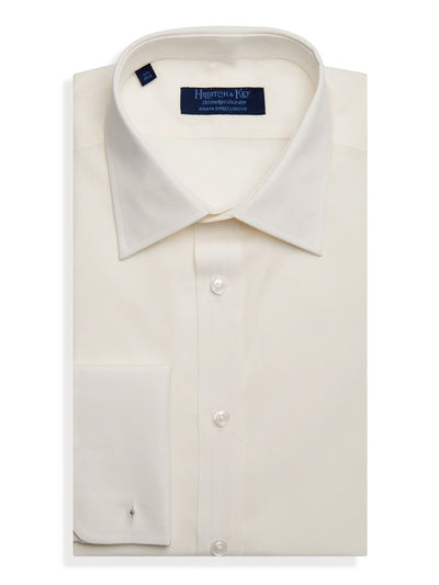 Contemporary Fit, Classic Collar, Double Cuff Shirt in a Plain Cream Poplin Cotton