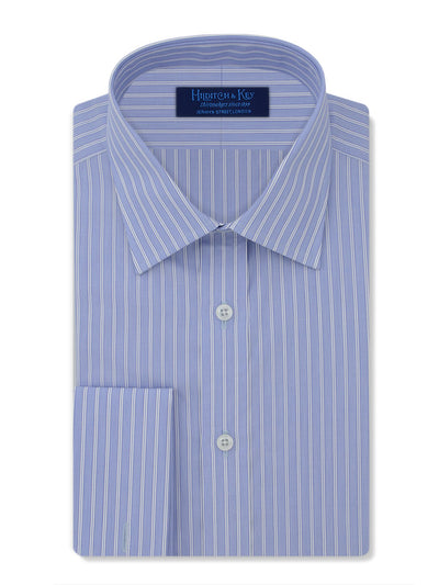 Contemporary Fit, Classic Collar, Double Cuff Shirt in a Blue, White & Navy Verticle Stripes Outlined Twill Cotton