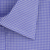 Contemporary Fit, Classic Collar, Double Cuff Shirt in a Blue & White Gingham Check Zephyr Cotton