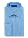 Contemporary Fit, Classic Collar, Double Cuff Shirt in a Mid Blue Stripe Sea Island Quality Poplin Cotton