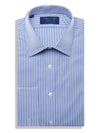 Contemporary Fit, Classic Collar, Double Cuff Shirt in a Blue & Navy Satin Stripe Twill Cotton