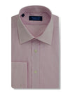 Contemporary Fit, Classic Collar, Double Cuff Shirt in a Pink & White Textured Twill Cotton