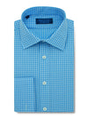Contemporary Fit, Classic Collar, Double Cuff Shirt in a Blue & White Check Twill Cotton