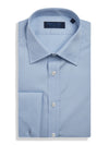 Contemporary Fit, Classic Collar, Double Cuff Shirt in a Plain Light Blue Poplin Cotton