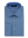 Contemporary Fit, Classic Collar, Double Cuff Shirt in a Plain Mid Blue End-On-End Cotton