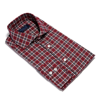 Contemporary Fit, Cut-away Collar, 2 Button Cuff Shirt in a Red, Navy, Yellow & White Check Brushed Cotton