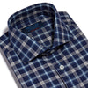 Contemporary Fit, Cut-away Collar, 2 Button Cuff Shirt in a Navy Check Brushed Cotton