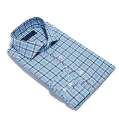 Contemporary Fit, Cut-away Collar, 2 Button Cuff Shirt in a Light Blue, Navy & White Check Brushed Cotton